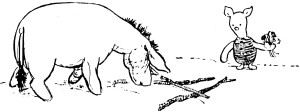 Piglet tries unsuccessfully to connect with Eeyore